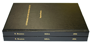 a traditional thesis binding with foil blocking