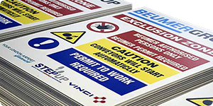 safety signs on correx board